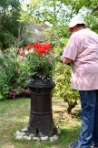 Jackie watering chimney planting