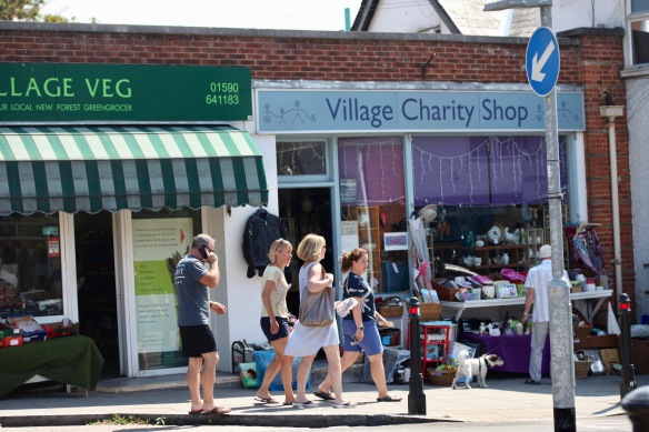 Walkers outside Village Charity Shop