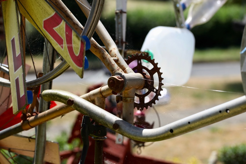 Bits of a bike in Garden of Delights