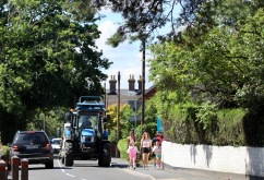 Tractor and pedestrians