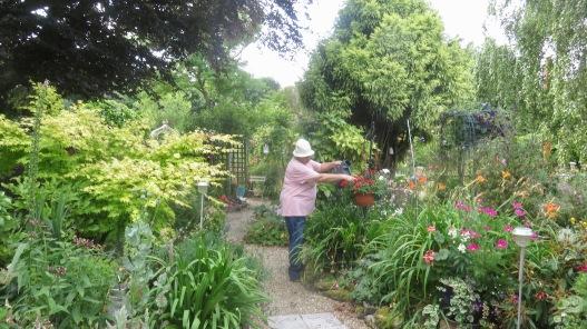 Jackie watering hanging basket from Gazebo Path
