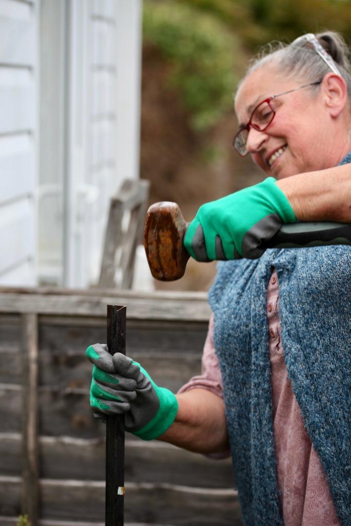 Jackie hammering stake