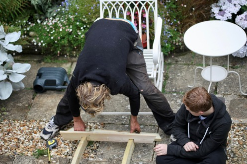 Aaron and Rory assembling arch