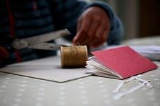 Book, cotton, scissors