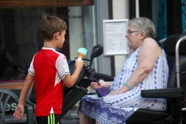 Turquoise ice cream