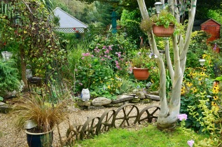 Gardenscape with wheels and eucalyptus by Helen K