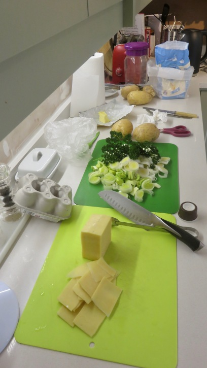 Cheese, leeks, parsley, potatoes
