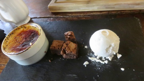 Creme brulée, ice cream, chocolate brownie