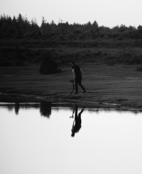 Photographer reflected in silhouette