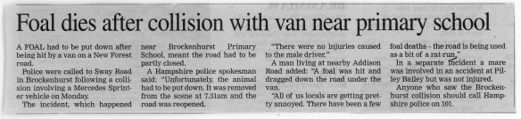 This article from the front page of the New Forest Post dated