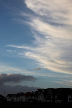 Skyscape over rooftops